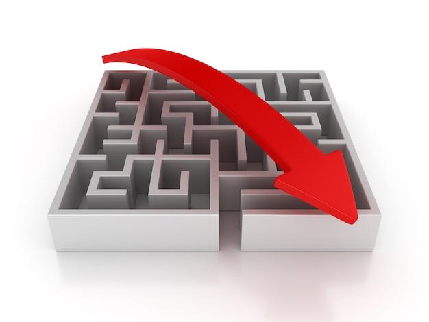 3d maze with arrow