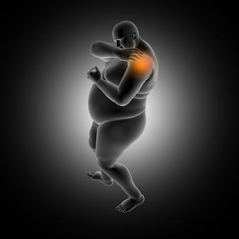 Fondo medico 3d dell'uomo in sovrappeso che tiene spalla nel dolore