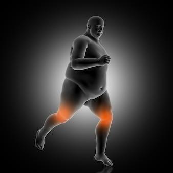 과체중 남성 조깅을 보여주는 3d 의료 배경