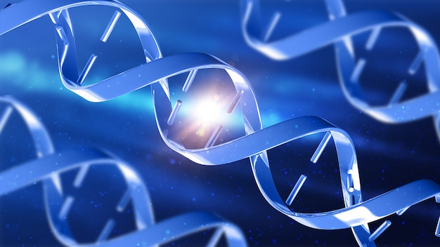 3d medical background with abstract dna strands