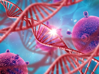 3D medical background with DNA strands and virus cells