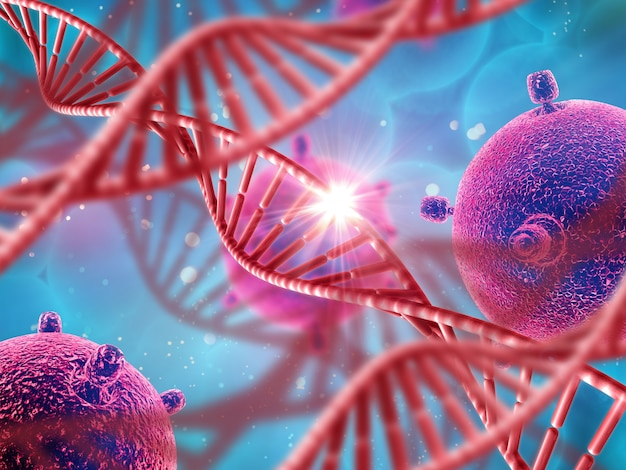 Dna 가닥과 바이러스 세포가있는 3d 의료 배경