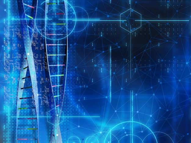 3d medical background with dna strands and code
