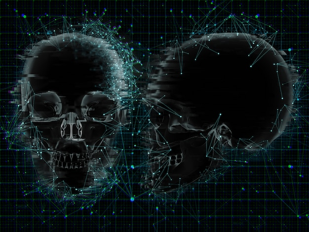 頭蓋骨のxrayの低ポリデザインの3d医療の背景