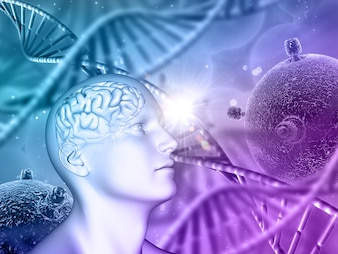 3D medical background with male head, brain, DNA strands and virus cells
