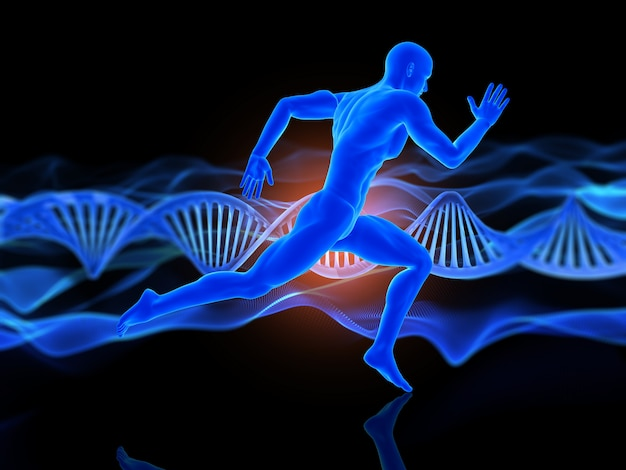 3d medical background with running male figure on dna strands
