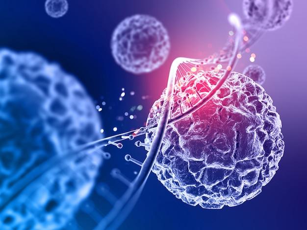 바이러스 세포와 dna 가닥 3d 의료 배경
