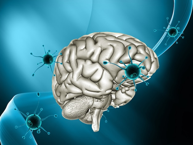 3d medical background with virus cells attacking a brain