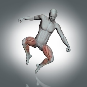 3d medical figure jumping