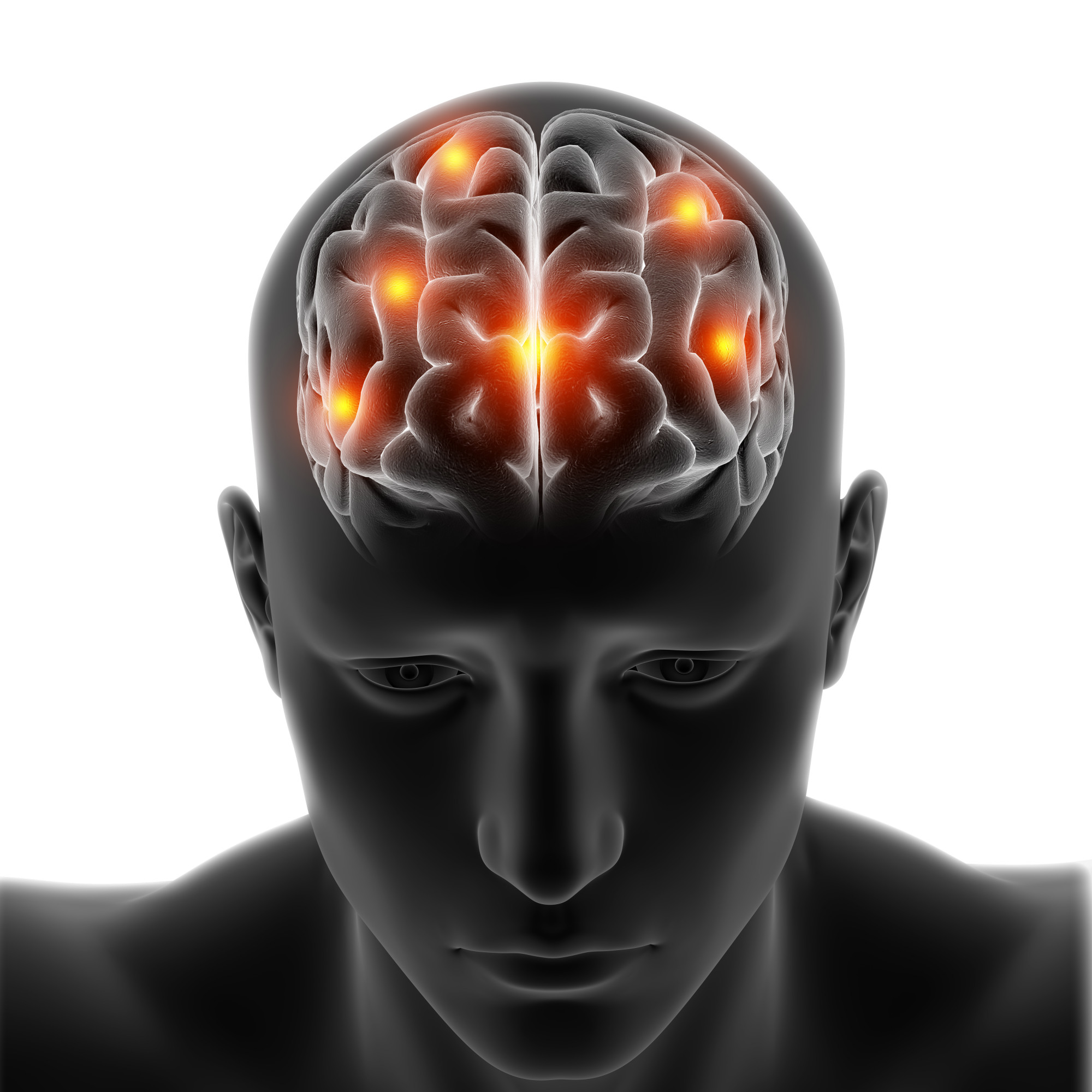 3D medical figure with brain highlighted on white background