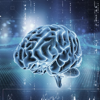 3d medical technology background with brain