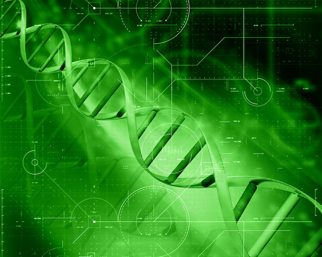 3d medical technology background with dna strand