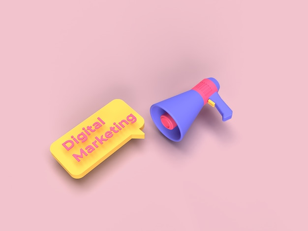 3d megaphone and digital marketing text with pink background color rendered