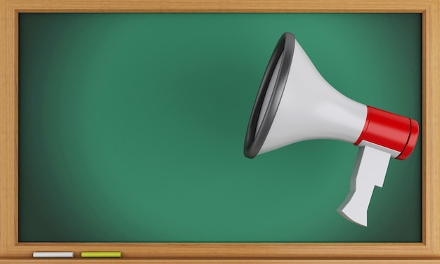 3d megaphone with empty blackboard.