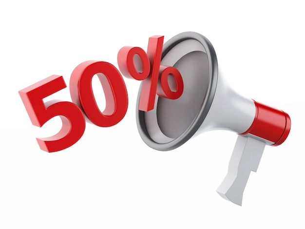 3d megaphone with percent discounts.