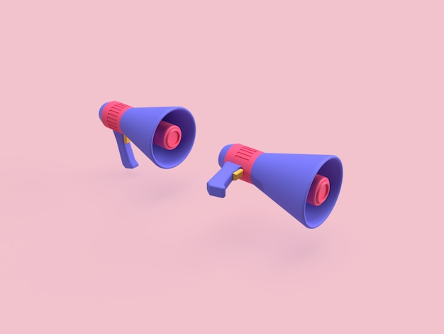 3d megaphone with pink background color rendered