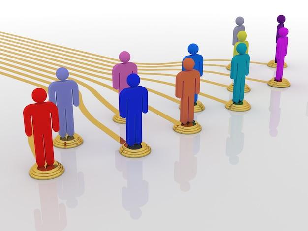 3d men network social colored people connection teamwork