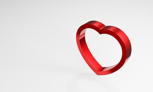 白い背景の上の3dメタリック赤いハート。愛のしるし。