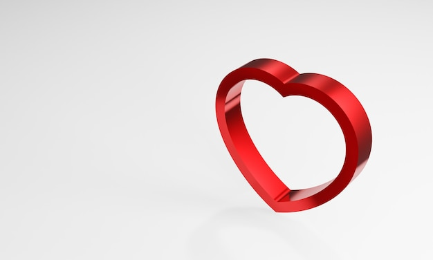 3d metallic red heart on white background. sign of love.