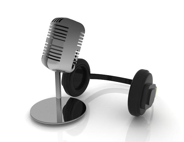 3d микрофон и наушники, изолированные на белом фоне