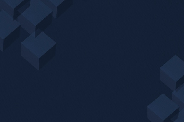 3d midnight blue paper craft cubic patterned background