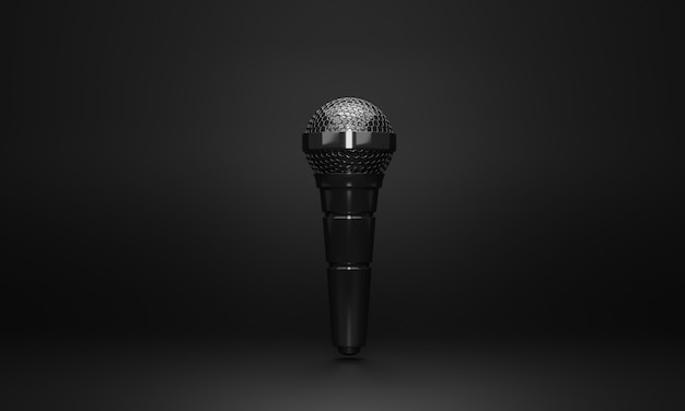 3d minimal black microphone on black