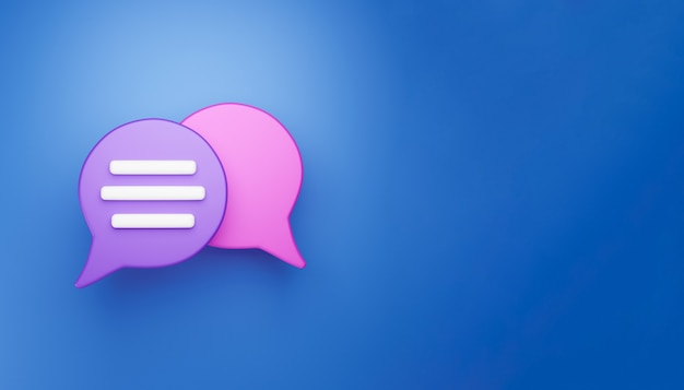 3d minimal chat conversation concept. group speech bubble chat icon isolated on blue background. message creative social media chatting concept communication or comment chat symbol. 3d render