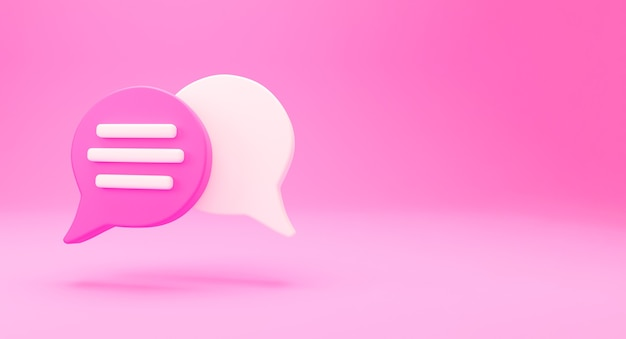 3d minimal chat conversation concept. group speech bubble chat icon isolated on pink background. message creative social media chatting concept communication or comment chat symbol. 3d render