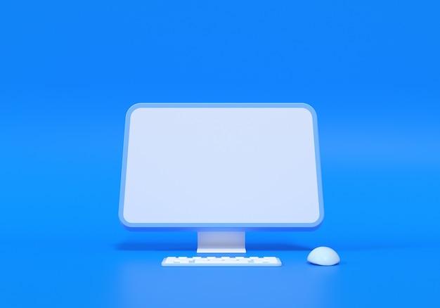 빈 화면 모형, 텍스트용 빈 화면 및 로고 교체 개념이 있는 3d 최소 데스크탑. 3d 렌더링 그림입니다.