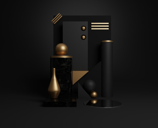 3d minimal gold and black geometric shapes.