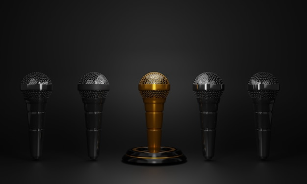 3d minimal golden microphone on black