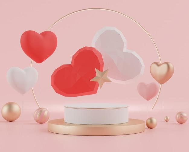 발렌타인 데이를위한 사랑스러운 심장 배경이있는 디스플레이 연단의 3d 최소.