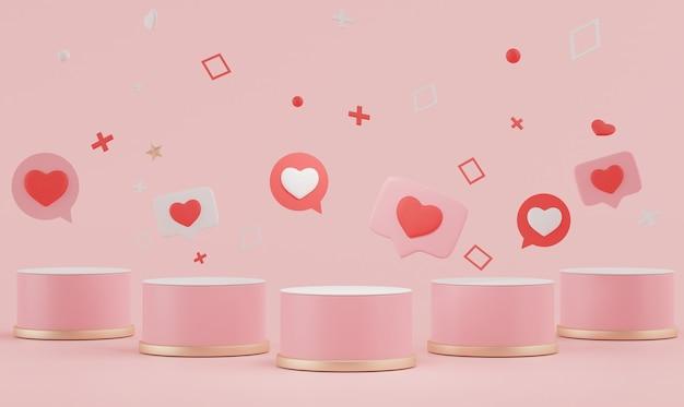 3d минимализм отображает подиум с прекрасным сердечком на день святого валентина.