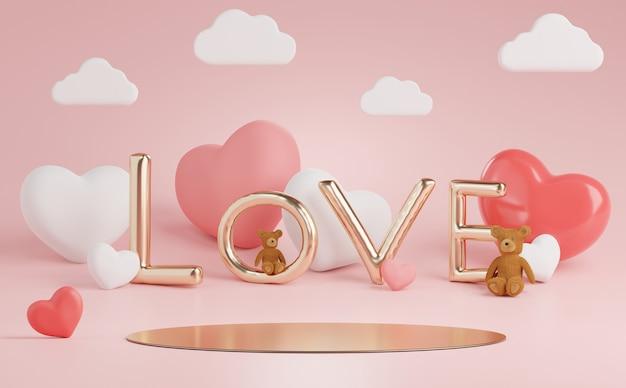バレンタインデーのための素敵なハートの背景を持つ3dミニマルディスプレイ表彰台。