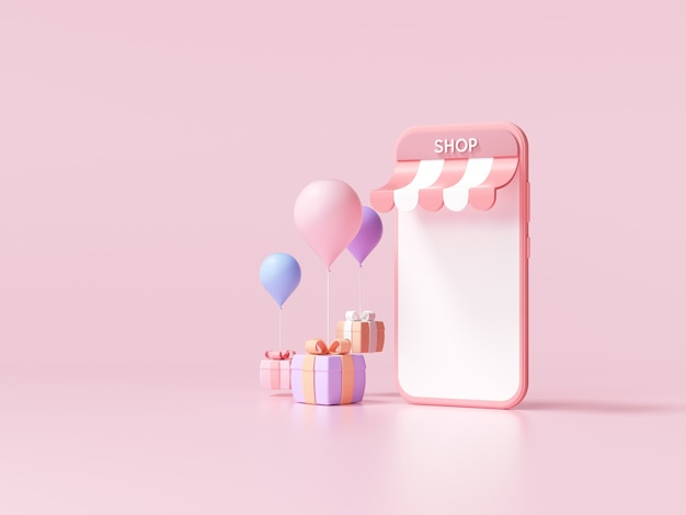 3d minimal покупки в интернете на службе приложений для смартфонов, цифровой маркетинг, концепция онлайн-покупок. 3d баннер фон.