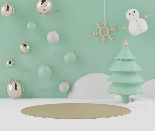 モックアップと製品プレゼンテーションのための表彰台とクリスマスの3d最小限のシーン