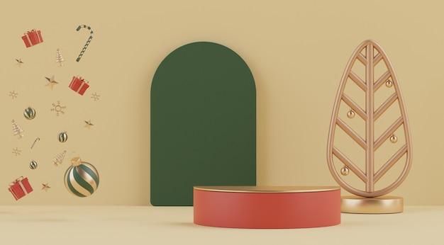 모의 및 제품 발표를위한 연단이있는 크리스마스의 3d 최소 장면
