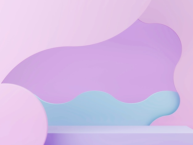3d minimal scene with geometrical forms, podium and curved abstract background in pastel colors.