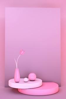 3dミニマル春の花チューリップ。スタイリッシュなトレンディな抽象的なピンクのシーン。バレンタインデーと女性の日の挨拶の招待状のモックアップ