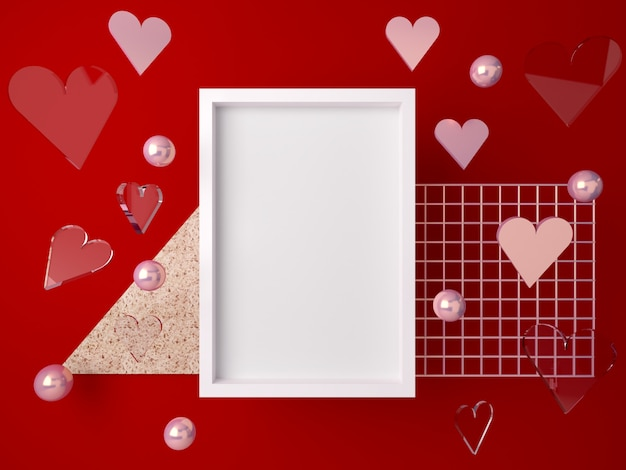 3d minimal valentine's scene, romantic hearts falling. abstract scene gold  and glass shapes with blank space