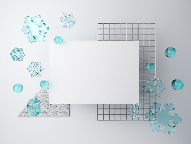 3d minimal winter scene with falling snowflakes. blank space for text and metal grid on white background, piece of terrazzo.