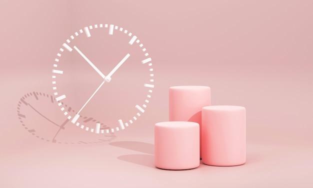 3d minimon 분홍색 연단은 배경에 흰색 아날로그 시계가 있는 스튜디오 분홍색 배경에 설정되었습니다.
