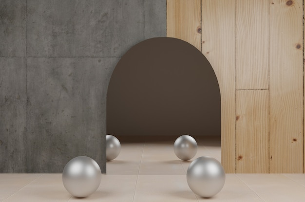 3d mirror with metal balls background