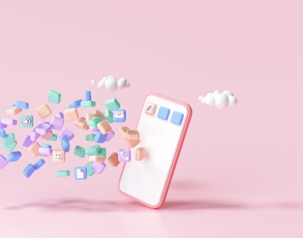 3dモバイルアプリケーション開発のコンセプト。電話へのフローティングアプリケーション、アプリのコーディング、ユーザーインターフェイスデザイン。 3dレンダリング。