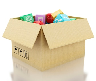 3d Mobile applications software in cardboard box.