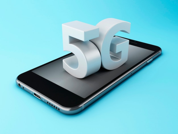 3d mobile phone with 5g sign.