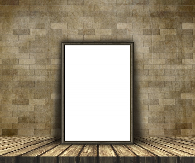 3d mock up of a blank picture on a wooden table against a brick wall