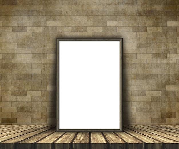 3d макет пустой картины на деревянный стол против кирпичной стены