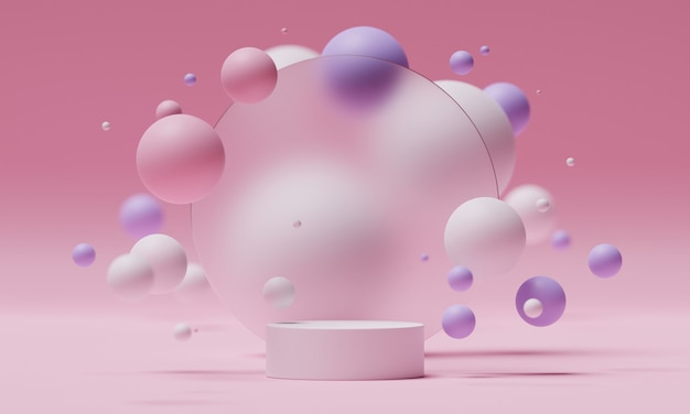 3d mock up podium on the background of a round frosted glass with flying spheres or balls in white, pink and purple colors. bright modern platform for product or cosmetics presentation. render scene.