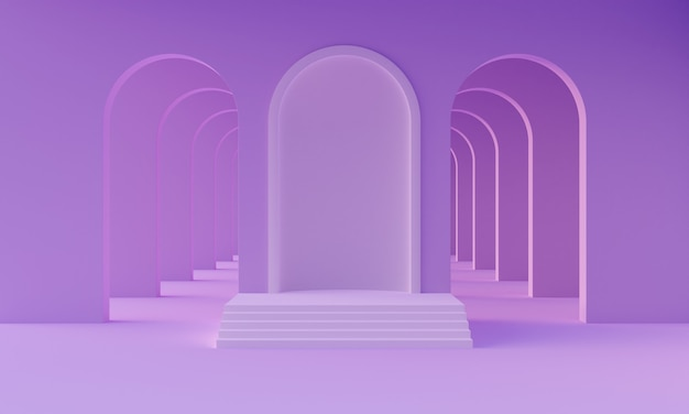 3d mock up podium in empty abstract minimalistic neon purple room with arches for product presentation. stylish modern platform in mid century style. 3d render